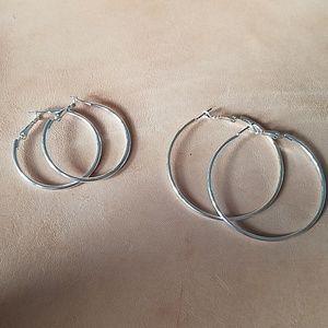Silver clip in hoop earrings